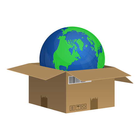 Cardboard box with planet earth inside vector design illustration isolated on white background Stockfoto - 122623417