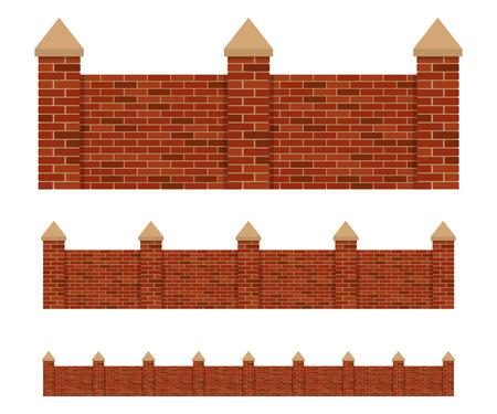 Fence of bricks vector design illustration isolated on white background
