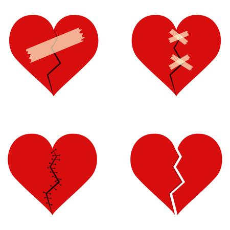 Broken heart set vector design illustration isolated on white background