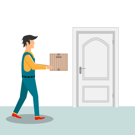 Delivery man with cardboard box vector design illustration