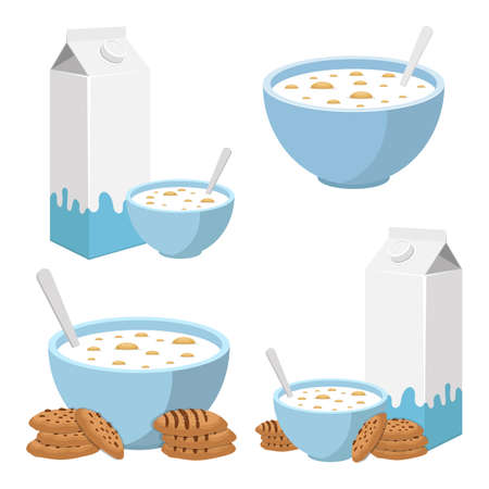 Bowl of cereals with milk vector design illustration isolated on white background