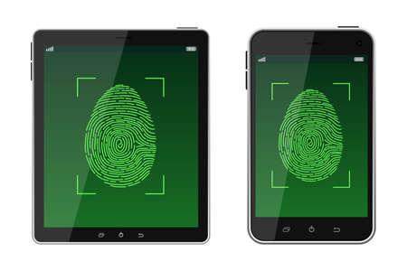 Unlock fingerprint scanning vector design illustration