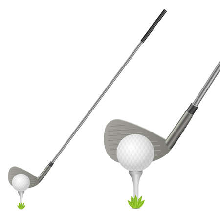 Golf ball and putter vector design illustration isolated on white background