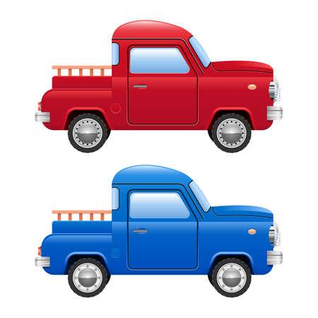 Retro pick-up car vector design illustration isolated on white background Vecteurs