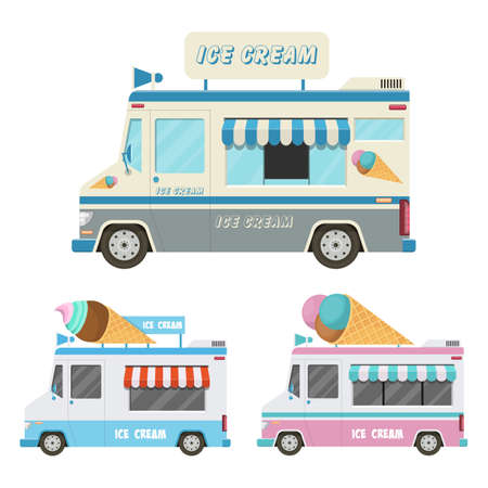 Ice cream car vector design illustration isolated on white background
