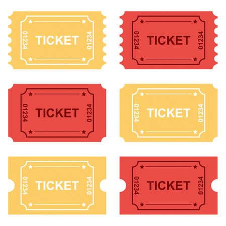 Tickets set vector design illustration isolated on white background Vetores