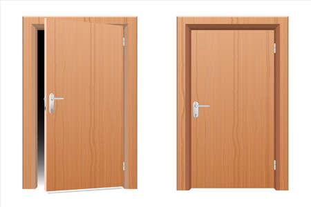 Wooden modern door vector design illustration isolated on white background Vettoriali