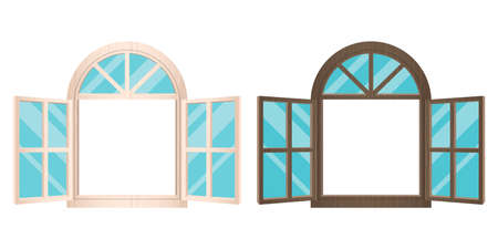 Opened wooden windows vector design illustration isolated on white background