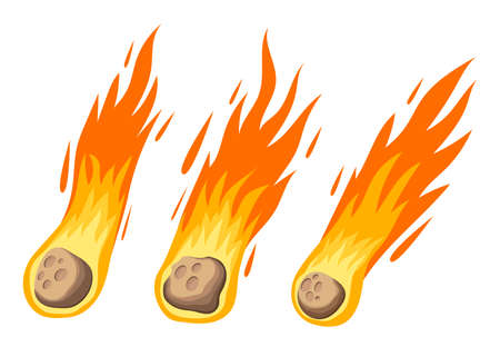 Meteorite in flames vector design illustration isolated on white background