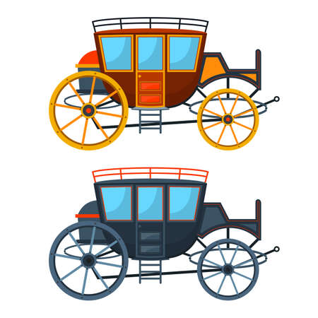 Retro carriage vector design illustration isolated on white background Vetores
