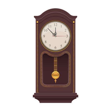 Pendulum vintage clock vector design illustration isolated on white background Векторная Иллюстрация