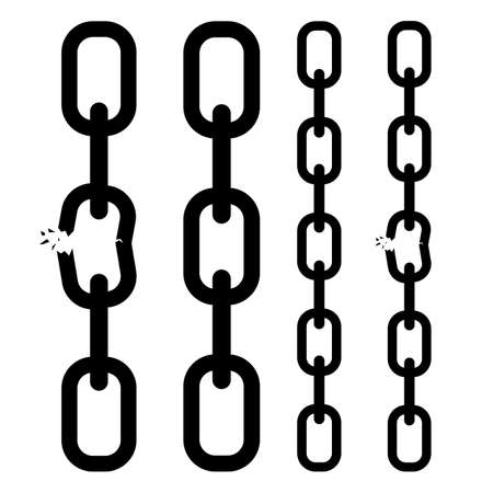 Broken chain vector design illustration isolated on white background