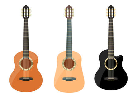 Stylish classical guitar vector design illustration isolated on white background