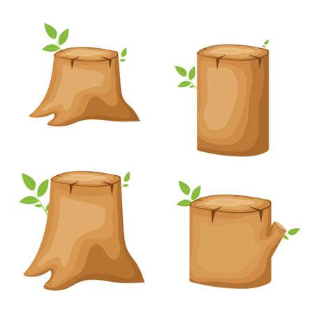 Trunk stump vector design illustration isolated on white background Vector Illustration