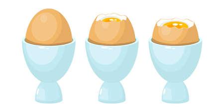 Boiled egg in egg holder vector design illustration isolated on white background
