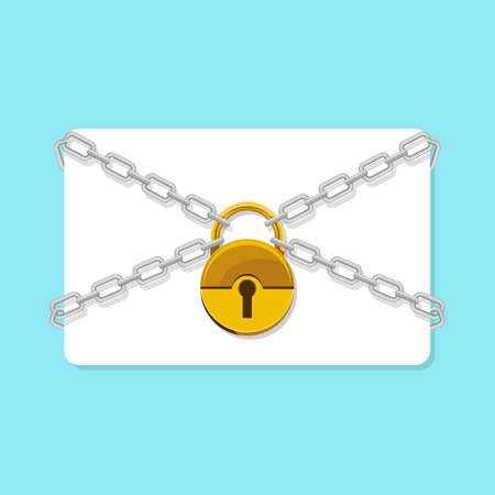 Empty card chained with padlock vector design illustration isolated on white background