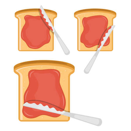 Toasted bread slice with jam on top vector design illustration isolated on white background