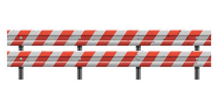 Metallic road barrier fence vector design illustration isolated on white background
