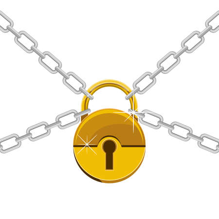 Padlock with chain vector design illustration isolated on white background