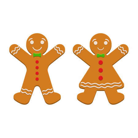 Gingerbread man vector design illustration isolated on white background