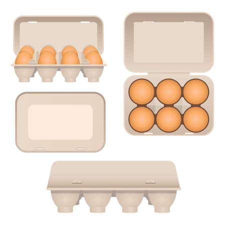 Chicken eggs in carton vector design illustration isolated on white background Vecteurs