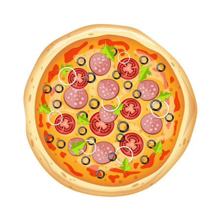 Fresh delicious pizza vector design illustration isolated on white background