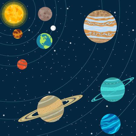 Solar system vector design illustration Vettoriali