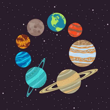 Solar system vector design illustration