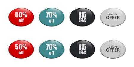 Glossy sale button vector design illustration isolated on white background