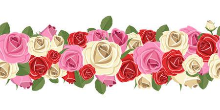 Seamless flower garland vector design illustration isolated on white background