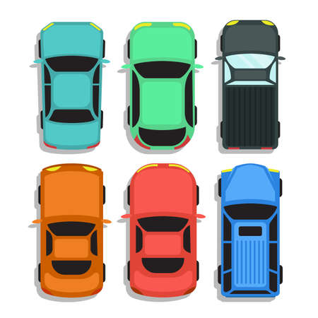 Car top view vector design illustration isolated on white background