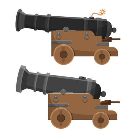 Ancient cannon vector design illustration isolated on white background Illustration