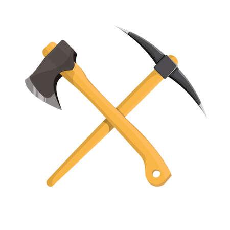 Axe and pickaxe vector design illustration isolatd on white background