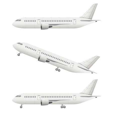 Realistic airplane vector design illustration isolated on white background Vecteurs