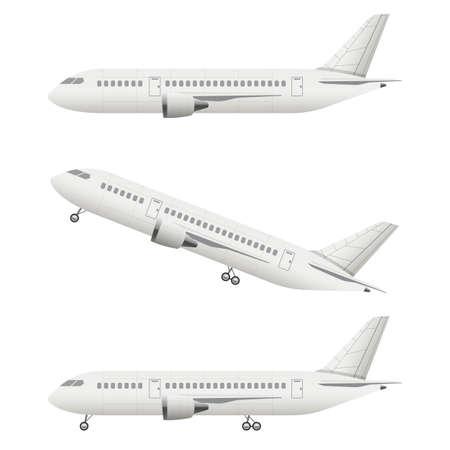 Realistic airplane vector design illustration isolated on white background Ilustração Vetorial