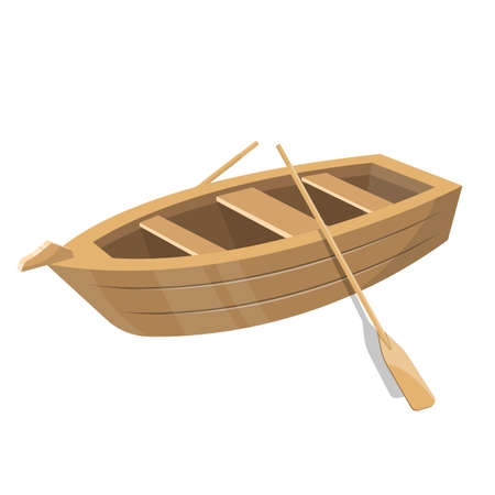 Wooden small boat with paddles vector design illustration isolated on white background