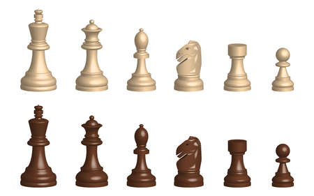 3d chess game pieces vector design illustration isolated on white background Ilustracja
