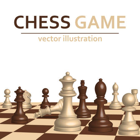 3d chess game pieces vector design illustration isolated on white background Vecteurs
