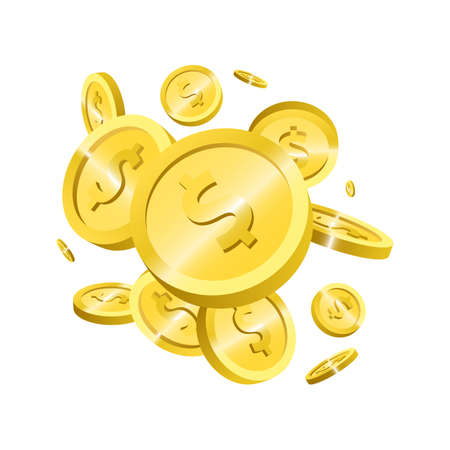 Gold coins explosion vector design illustration isolated on white background