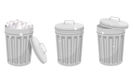 Metallic trash can vector design isolated on white background