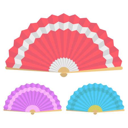 Japanese folding fans vector design illustration isolated on white background