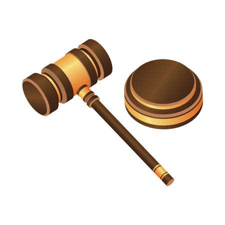 Judge hammer vector design illustration isolated on white background