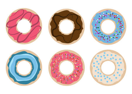 A set of six doughnuts vector design illustration isolated on white background