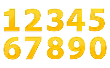 Golden numbers vector design illustration isolated on white background