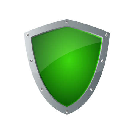 Protection metallic shield vector design illustration isolated on background
