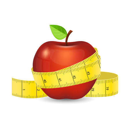 Red apple with yellow measuring tape vector design illustration isolated on white background