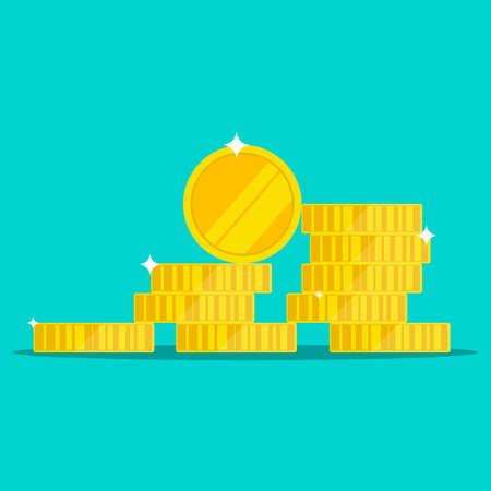 Golden coins vector design illustration isolated on blue background Ilustrace