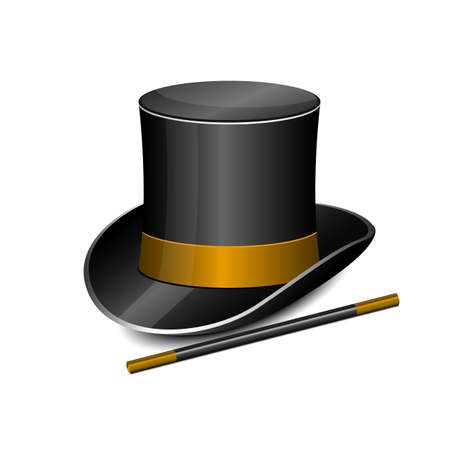 Magician hat and stick vector design illustration isolated on white background