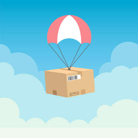 Parachute delivery vector design illustration