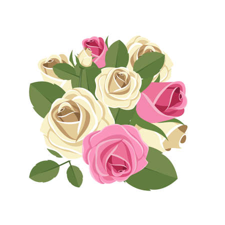 Vintage roses vector design illustration isolated on white background